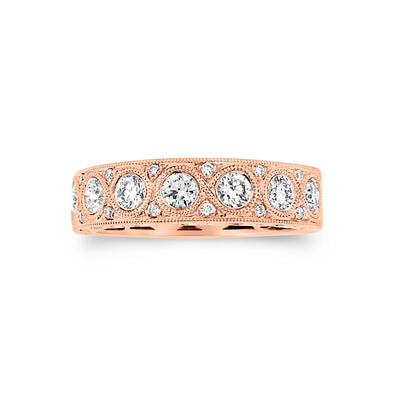 Antiqued Milgrained Diamond Wedding Band