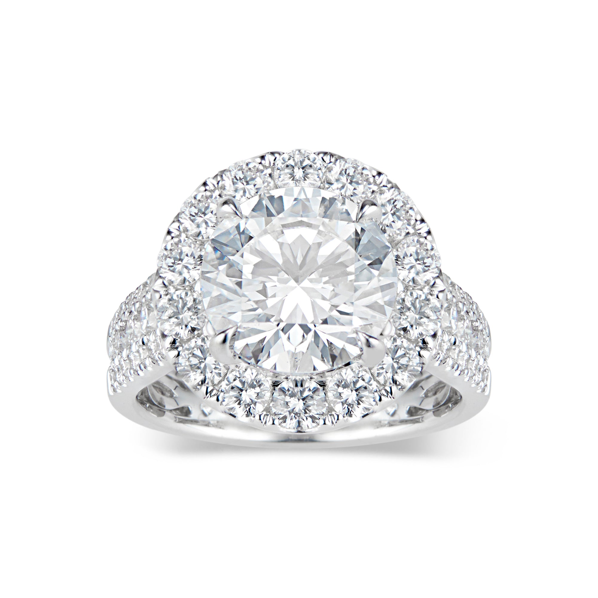 Round Diamond Halo Engagement Ring with Pave Diamond Shank
