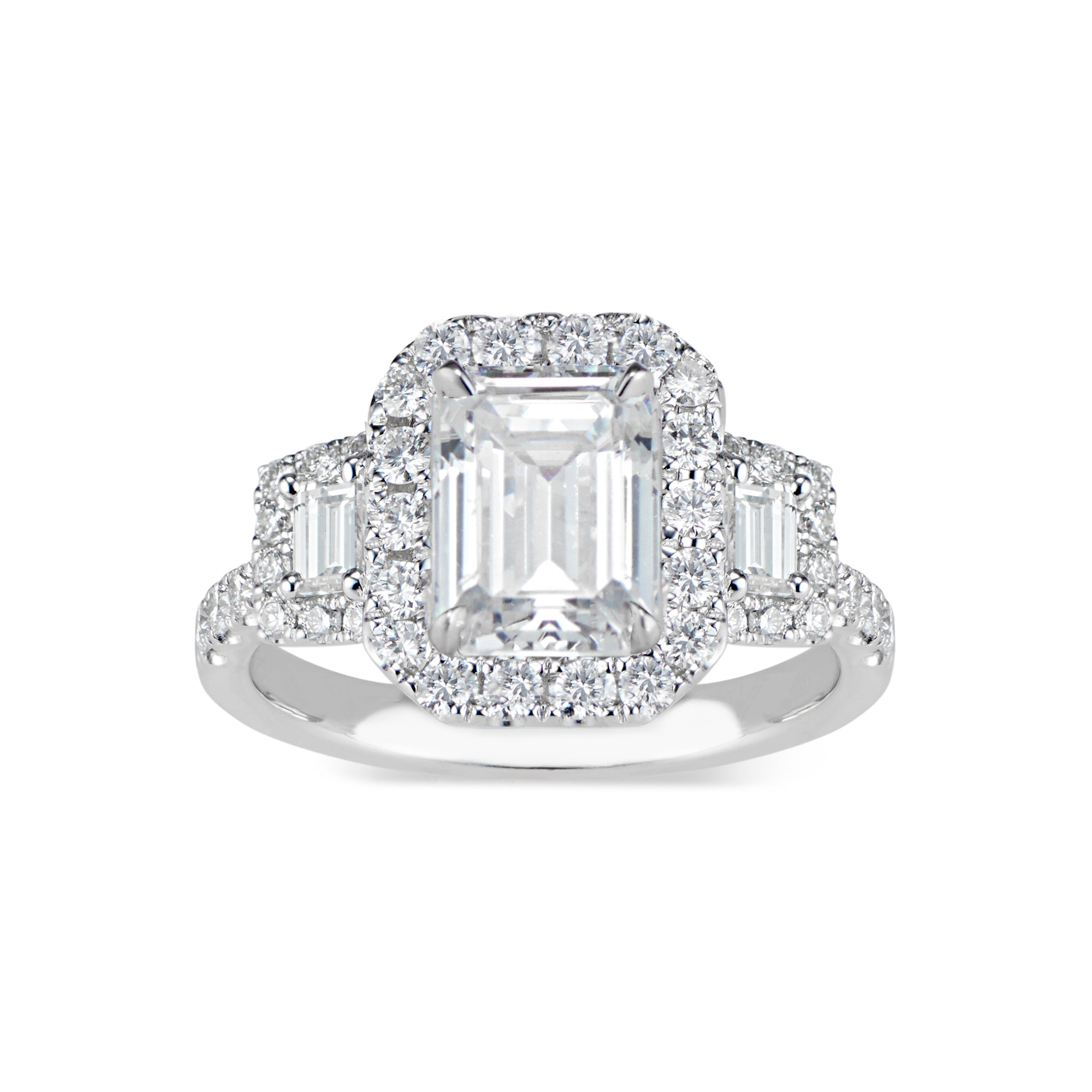 Three-Stone Emerald-Cut Diamond Engagement Ring