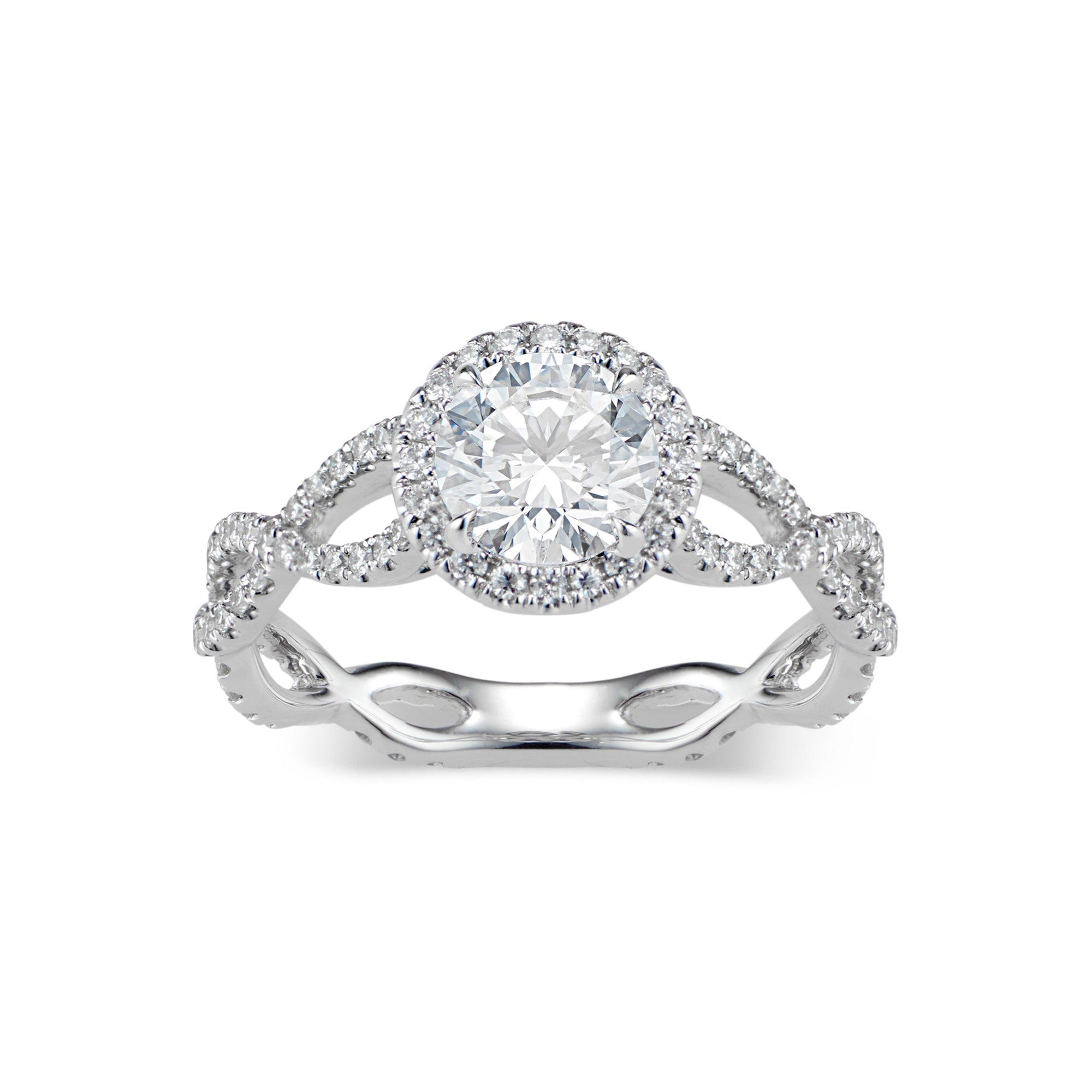 Round Diamond Halo Engagement Ring with Twisted Shank