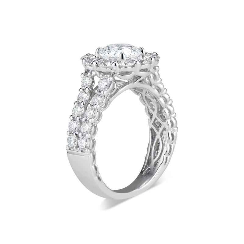 Round Halo Diamond Engagement Ring with Prong-Set Diamond Shank