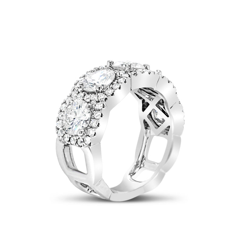 Square-Shaped Cut-out Diamond Wedding Band