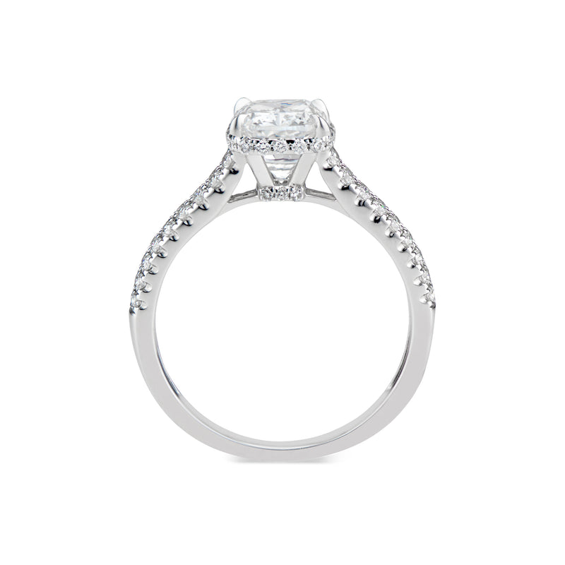 Cushion Hidden Halo Diamond Engagement Ring