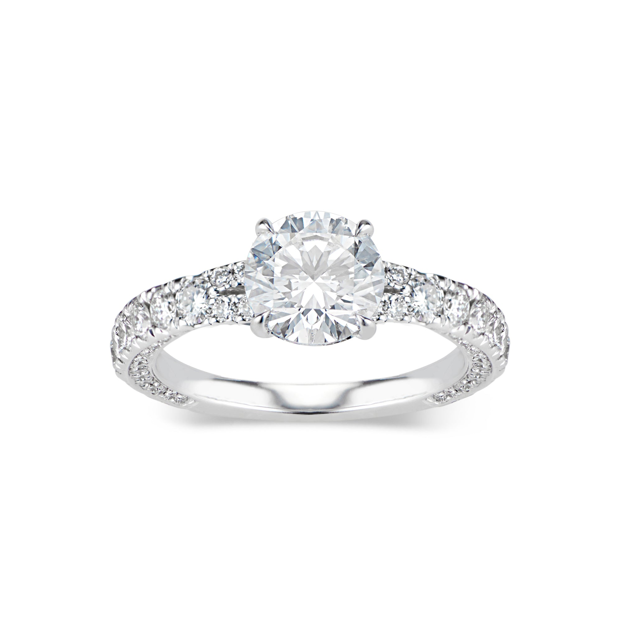 Round Diamond Engagement Ring with Bypass Shank