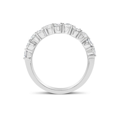 Prong-Set Diamond Staggered Wedding Band