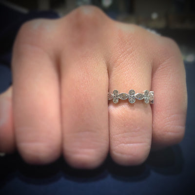 Alternating Marquise & Round Diamond Eternity Band with Milgrain