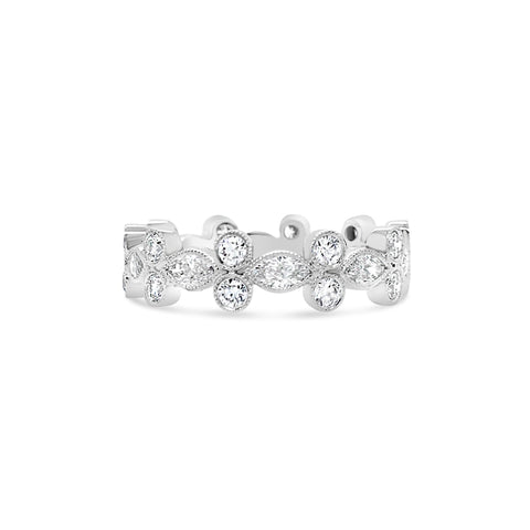 Alternating Marquise & Round Diamond Band