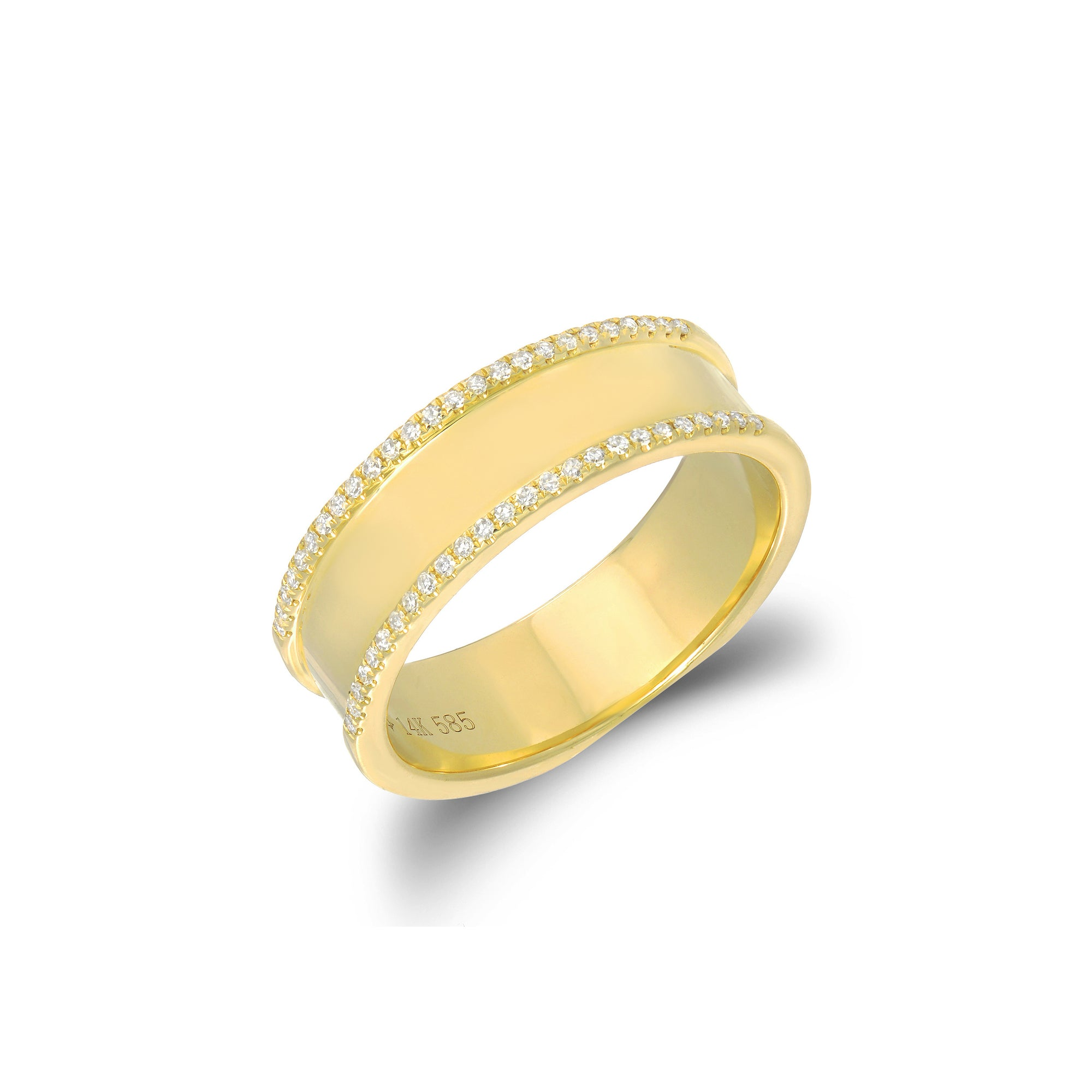 Diamond Outlined Gold Ring