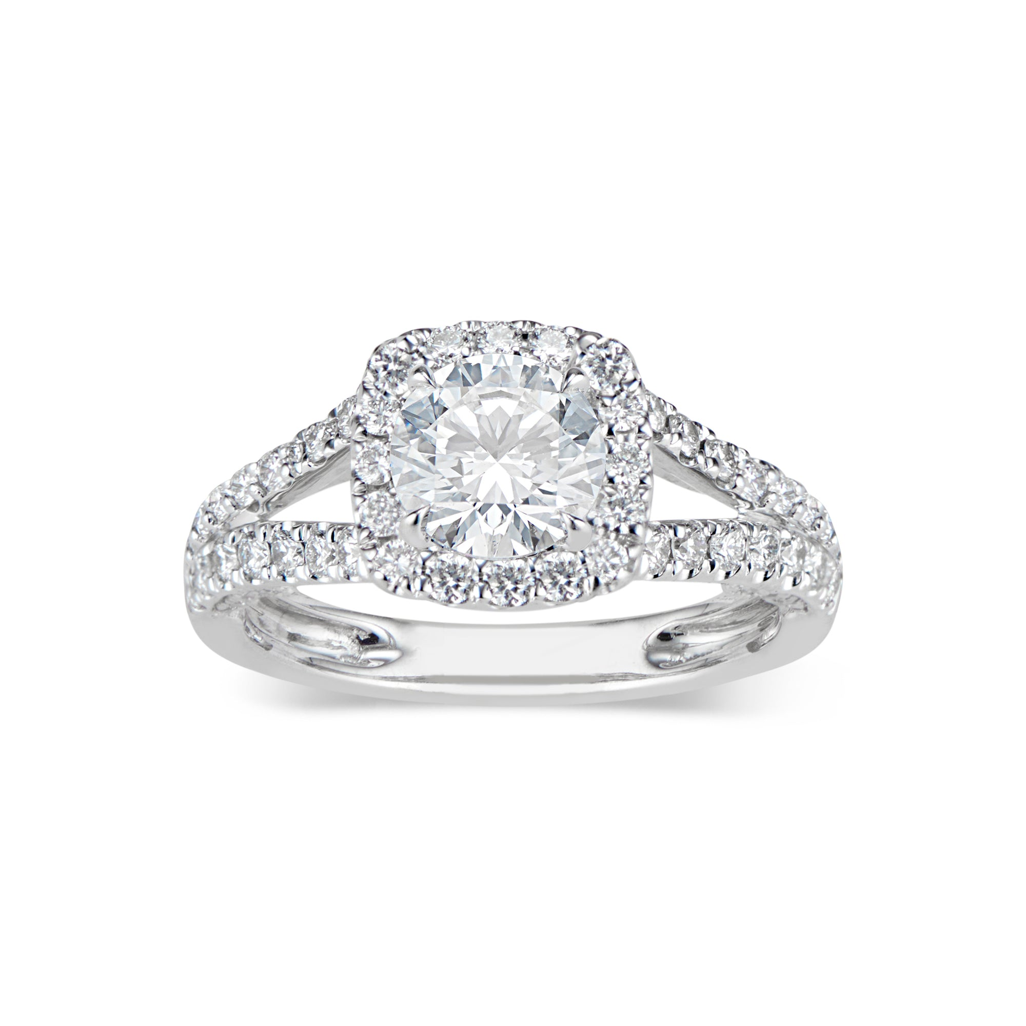 Cushion Halo Diamond Engagement Ring with Split Shank
