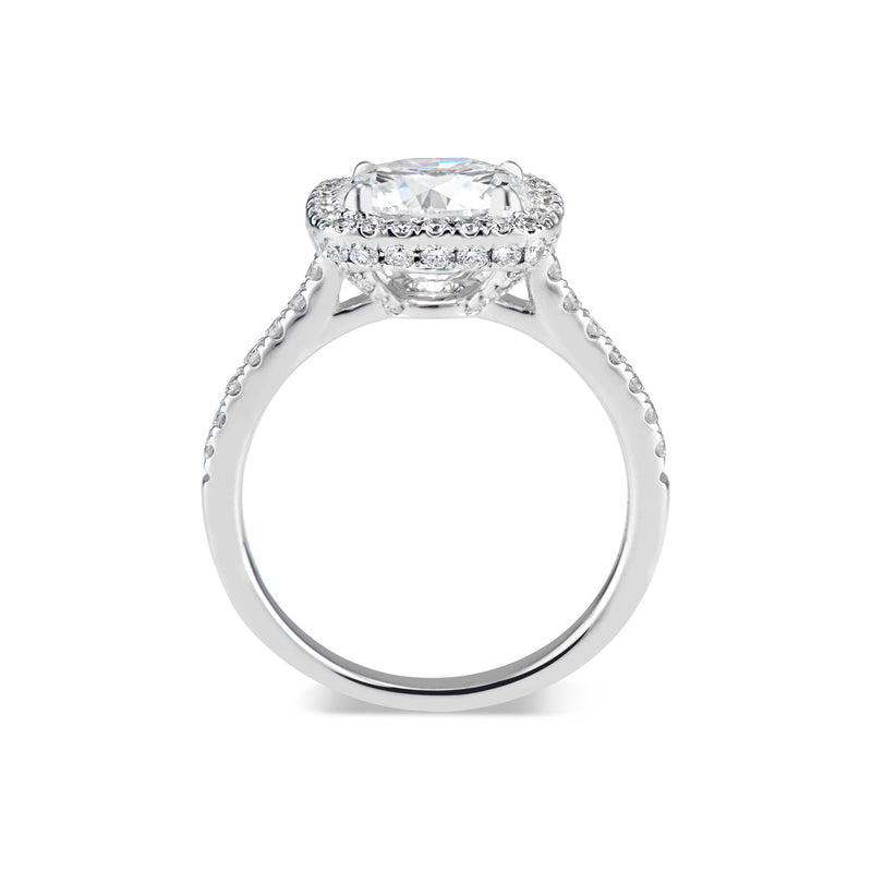 Cushion Halo Diamond Engagement Ring with Hidden Halo