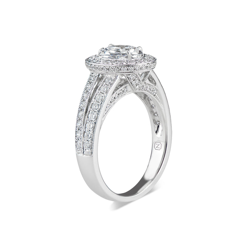 Oval Halo Diamond Engagement Ring with Split Shank