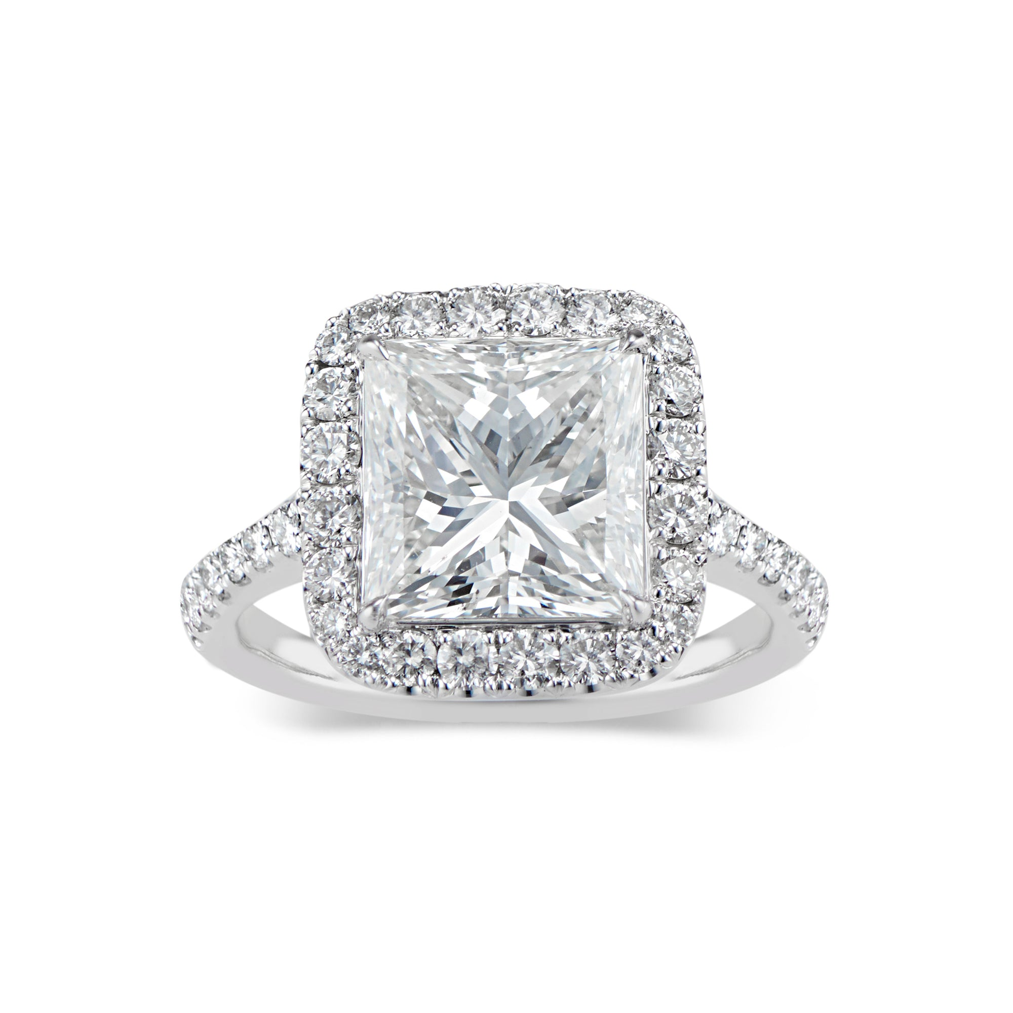 Princess-Cut Diamond Halo Engagement Ring
