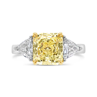 Fancy Yellow Radiant-Cut Diamond Three-Stone Engagement Ring