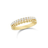 Diamond & Gold Bead Stacking Ring