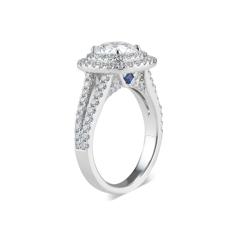 Cushion Double Halo Diamond Engagement Ring with Split Shank & Sapphire Accent Stones
