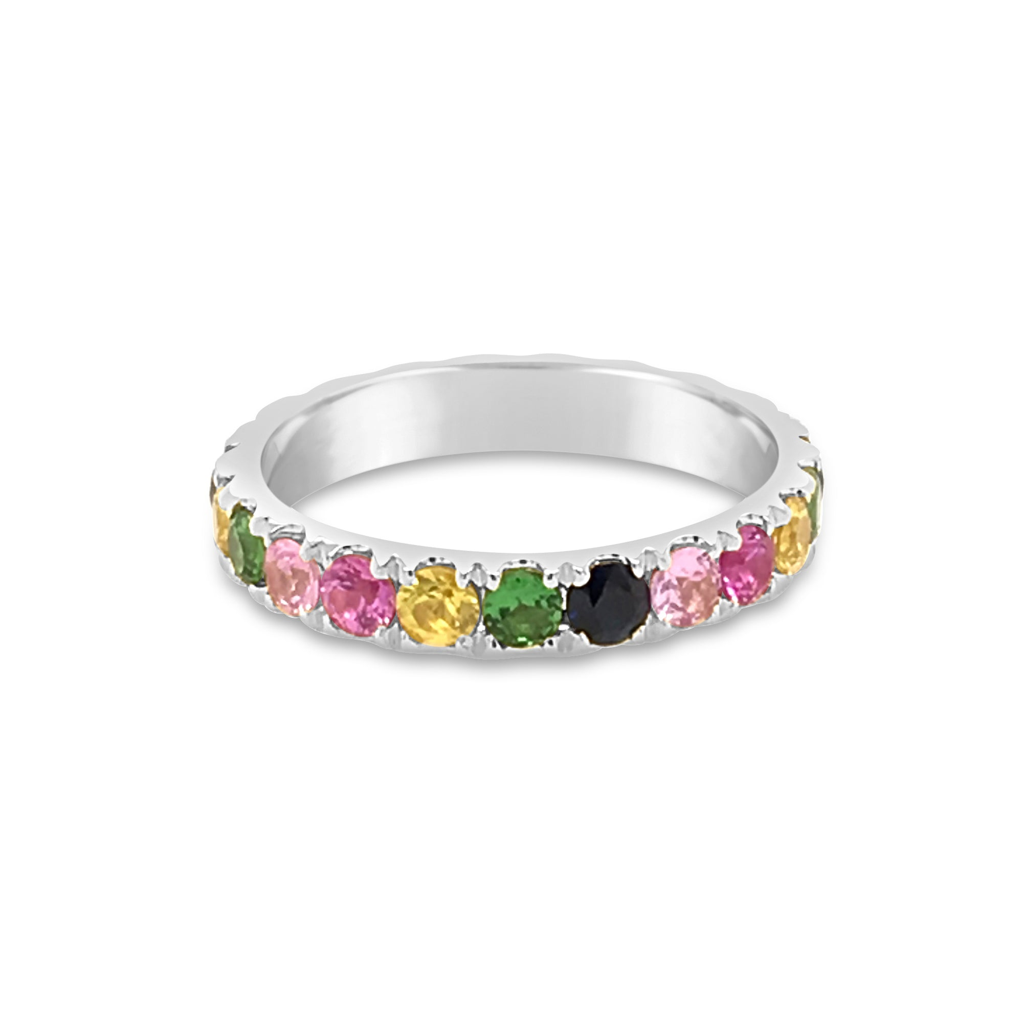 Enlarged Rainbow Gemstone Band Ring