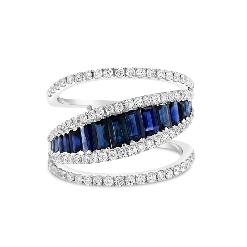 Diamond & Sapphire Baguette Fashion Ring