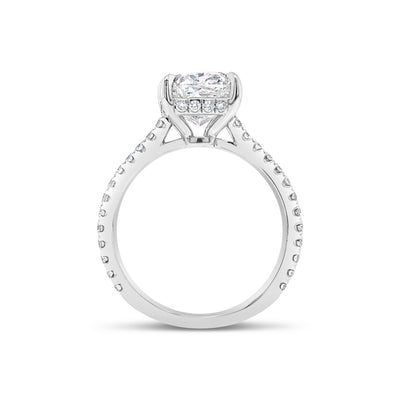 Cushion Diamond Engagement Ring with Pave Diamond Shank