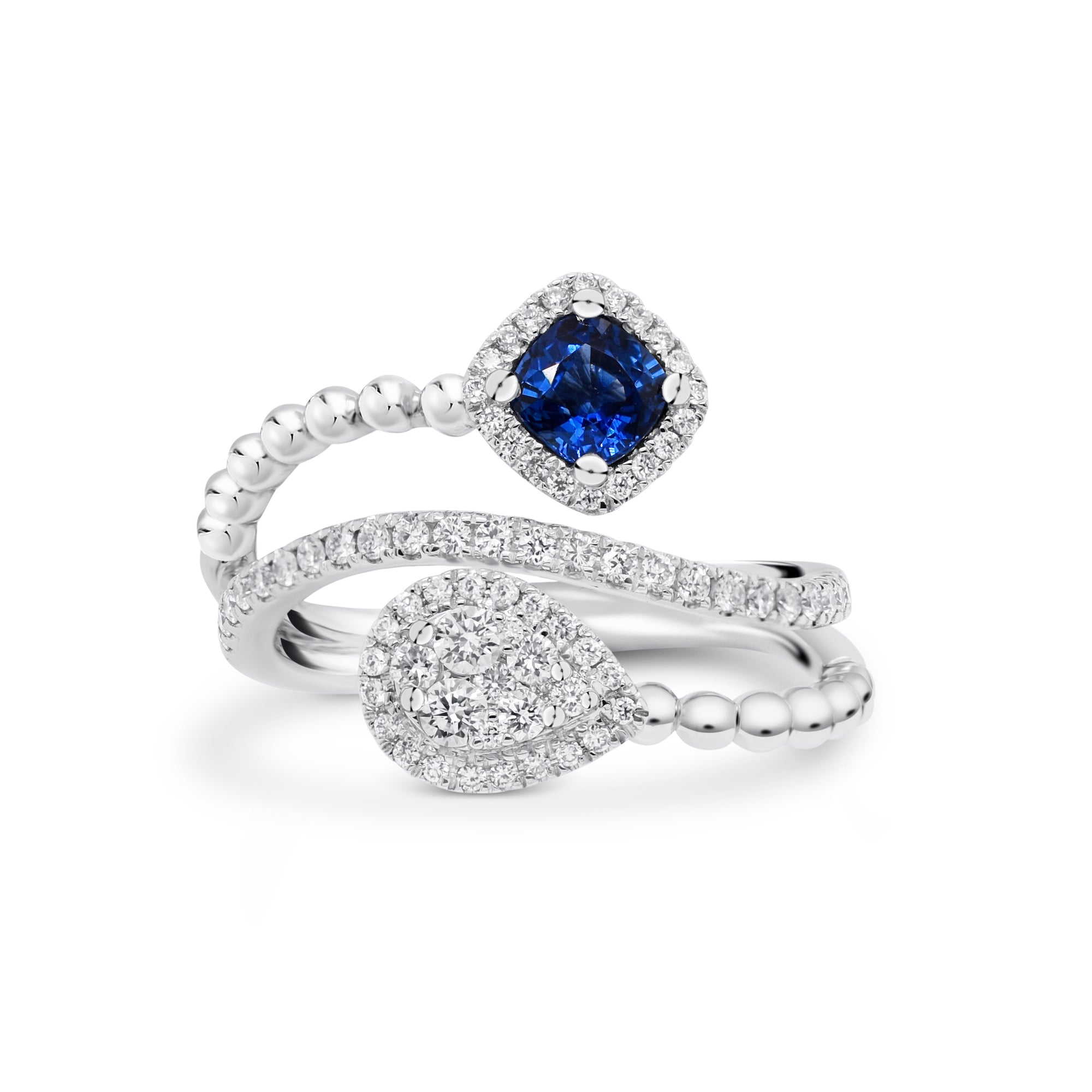 Sapphire Cushion & Diamond Teardrop Bypass Ring