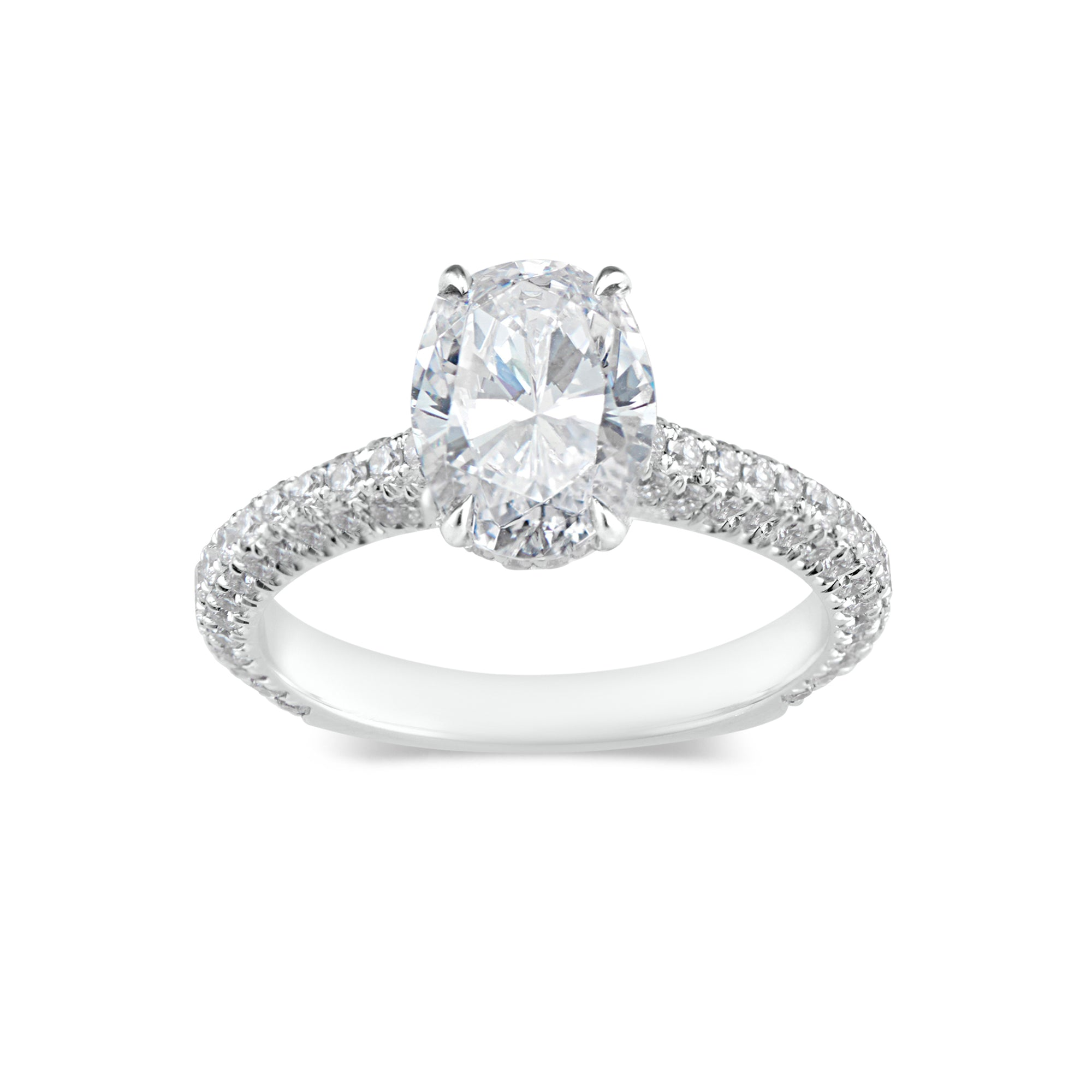 Oval Diamond Engagement Ring with Pave Diamond Shank