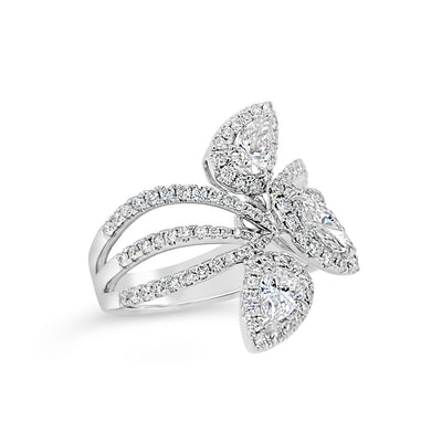 Pear and Marquise-Shaped Diamond Statement Ring