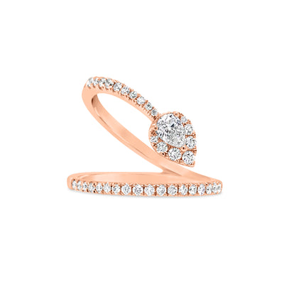 Diamond Wave Ring with Diamond Pear