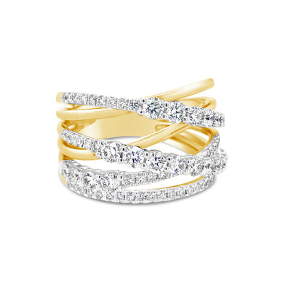 Prong-set Diamond & Gold Strand Fashion Ring