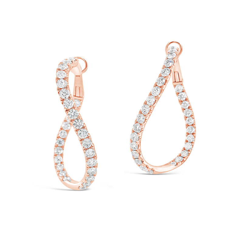 Thick Luxe Diamond Twisted Hoops Earrings