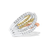 Diamond & Beaded Gold Interwoven Bands Ring