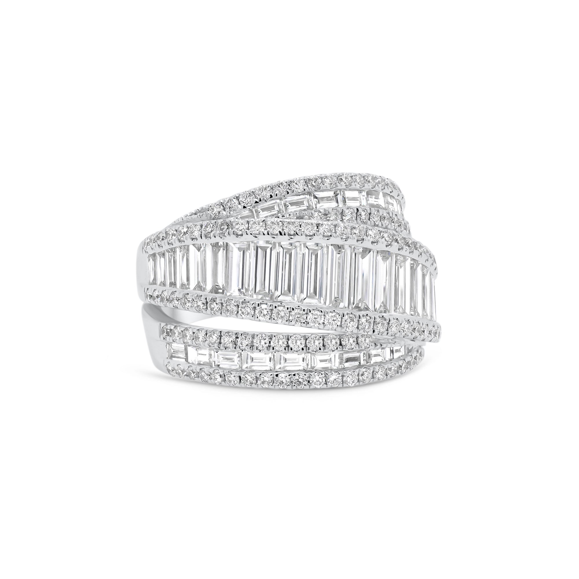 Baguette Diamond Crossover Ring