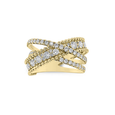 Diamond Overlapping Bands Ring