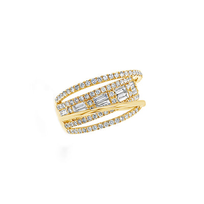 Diamond Baguette Crossover Ring