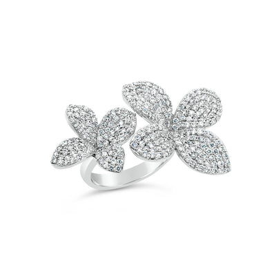 Diamond Flower Duo Ring