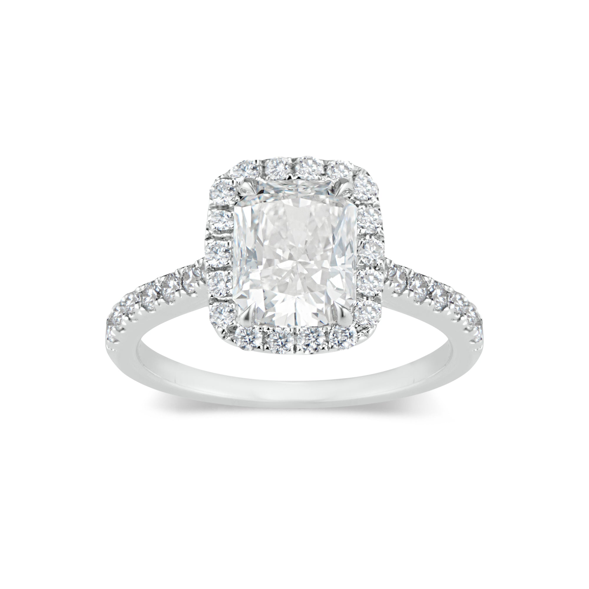 Elongated Radiant-Cut Halo Diamond Engagement Ring
