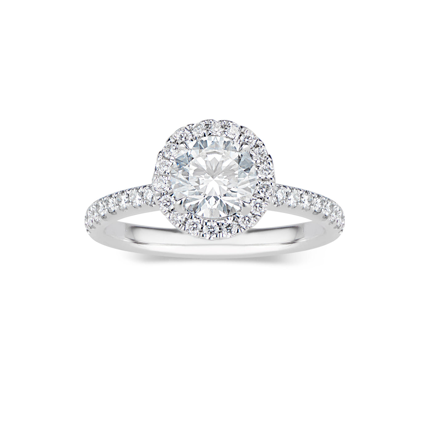 Round Double-Edge Halo Diamond Engagement Ring