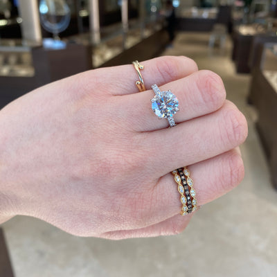 Diamond Stackable Ring with Milgrain