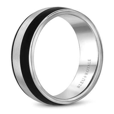 Black Carbon Accent Men's Wedding Band