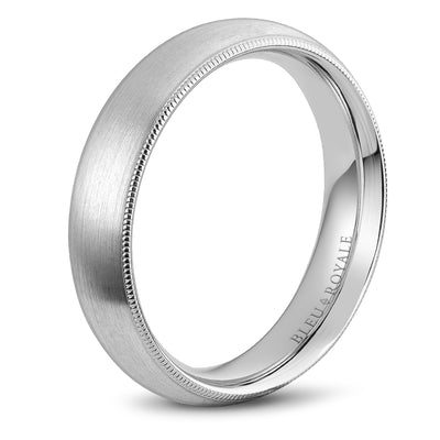 Sandpaper Top & High Polish Textured Edges Men's Wedding Band