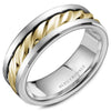 High Polish Center & Bevel with Sandpaper Top Sides Men's Wedding Band