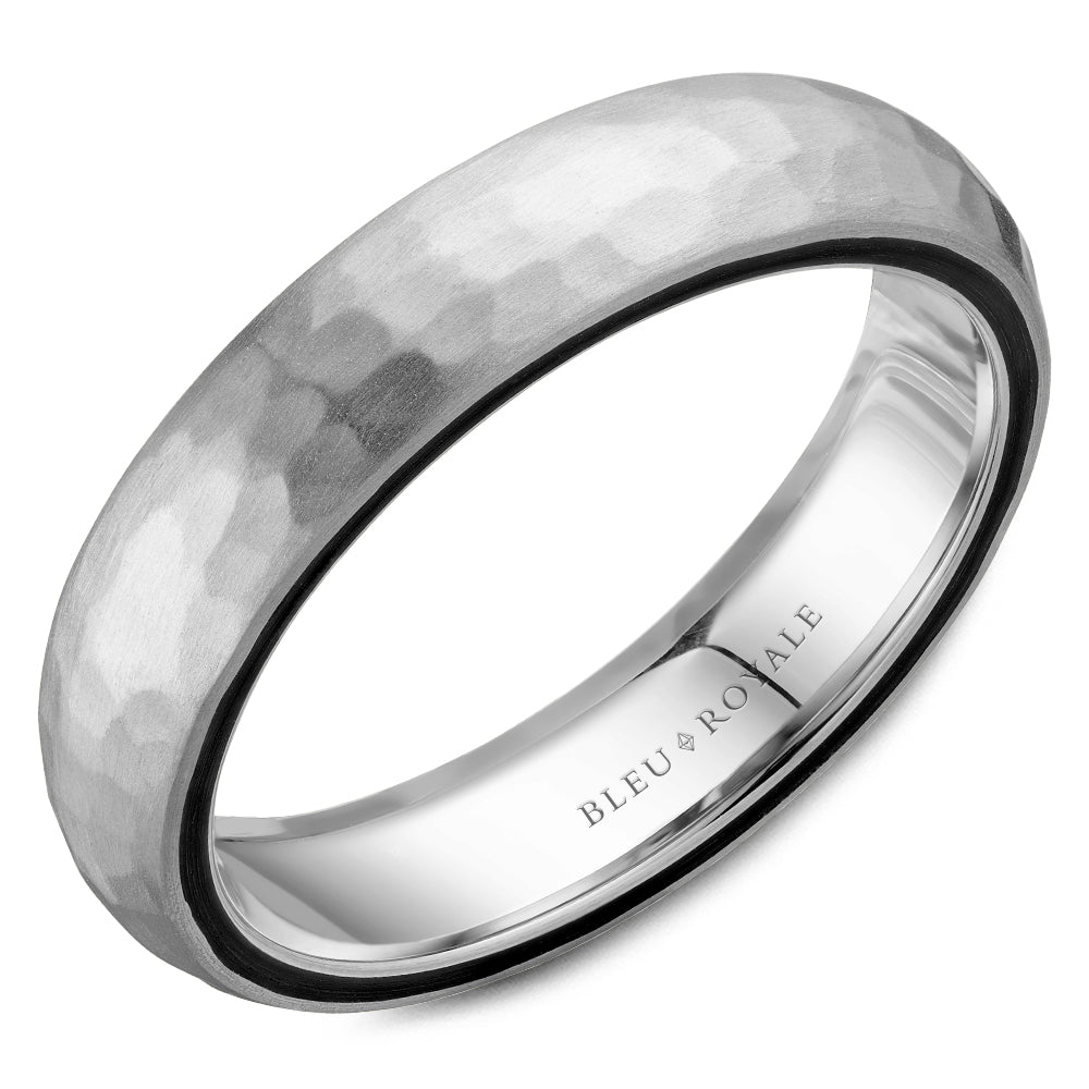 Hammered Top & Black Carbon Profile Inlay Men's Wedding Band