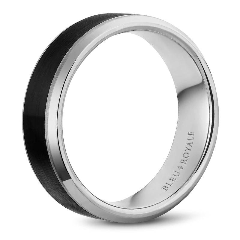 Sandpaper Carbon Center & High Polish Bevel Edges Men's Wedding Bands