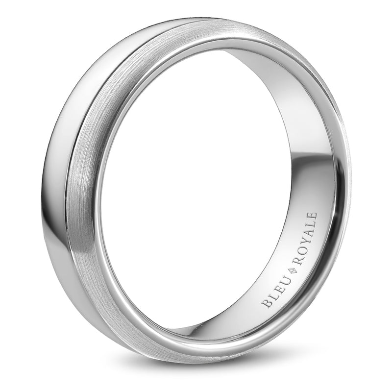 High Polish with Sandpaper accent Men's Wedding Band
