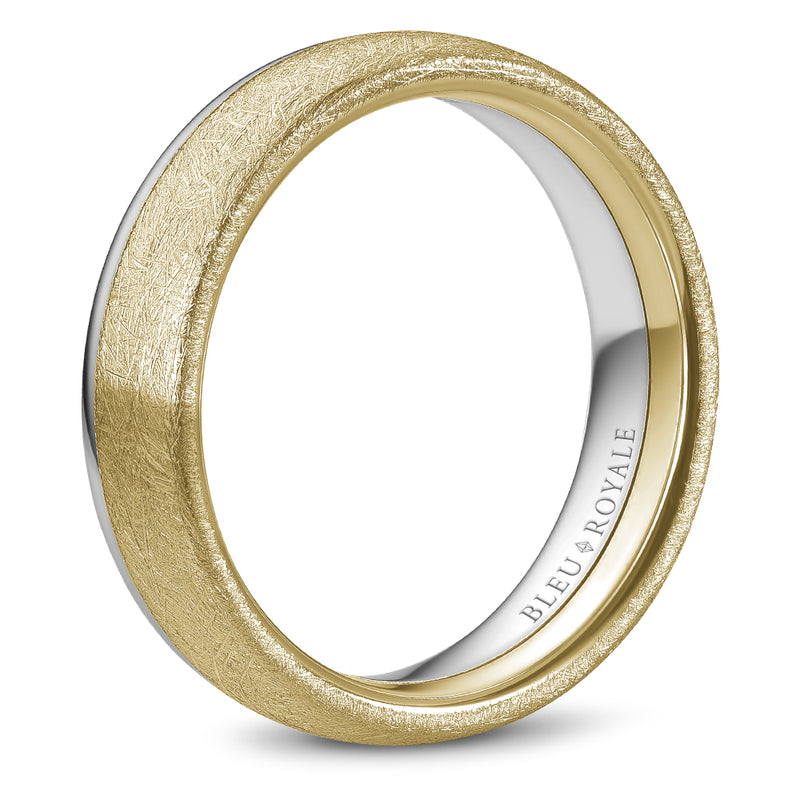 Diamond Brush Wider Top & High Polish Narrow Top Men's Wedding Band