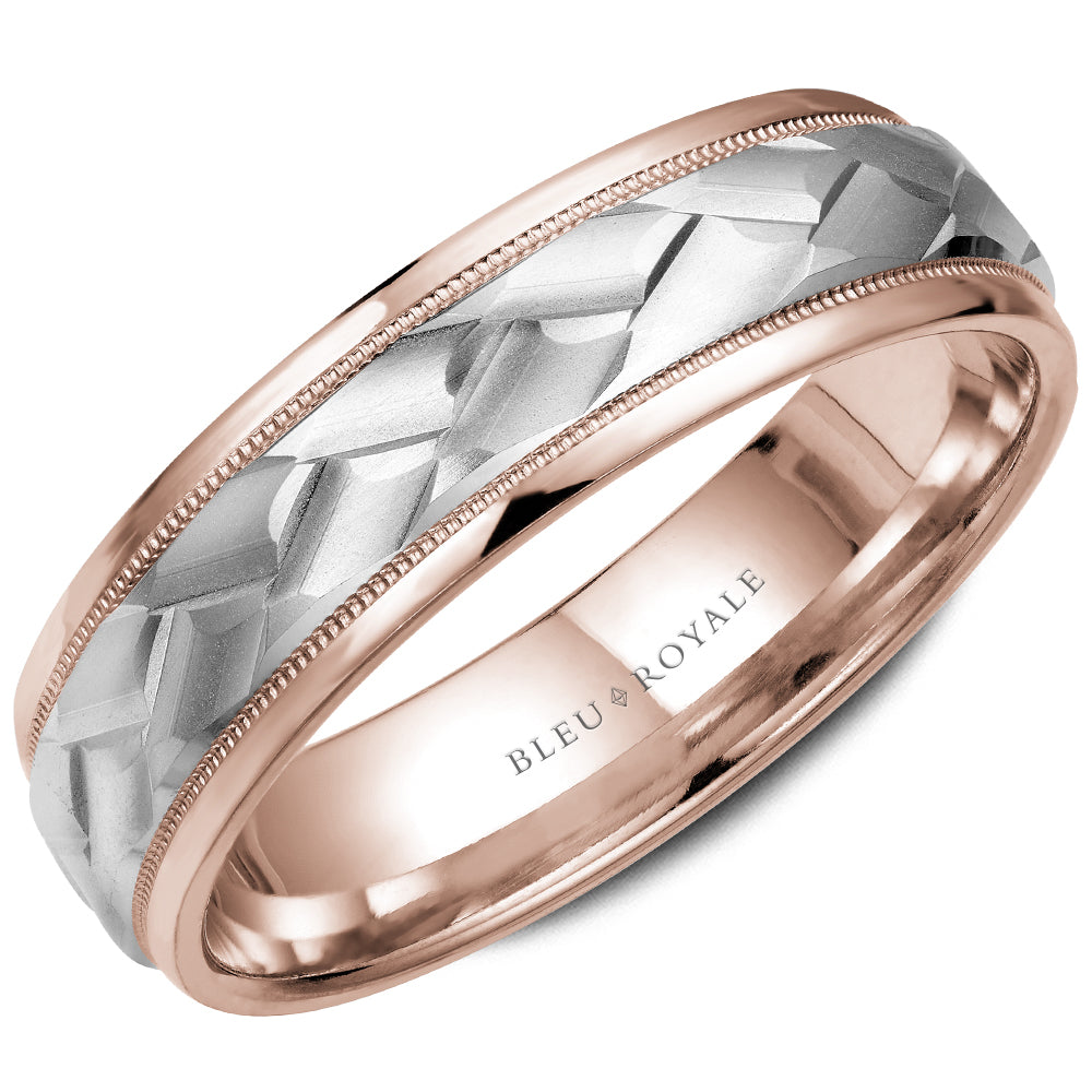 Frosted Center & High Polish Edges Men's Wedding Band