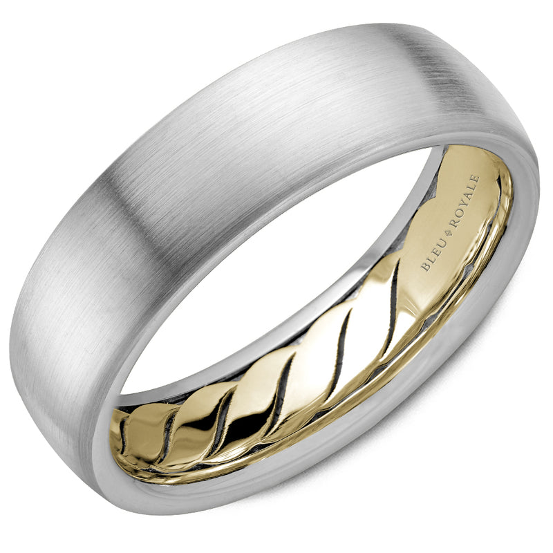Diamond Brush Top with Yellow Gold Interior Men's Wedding Band