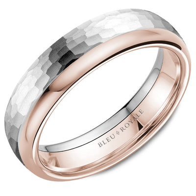 Hammered Top & Smooth Top Men's Wedding Band