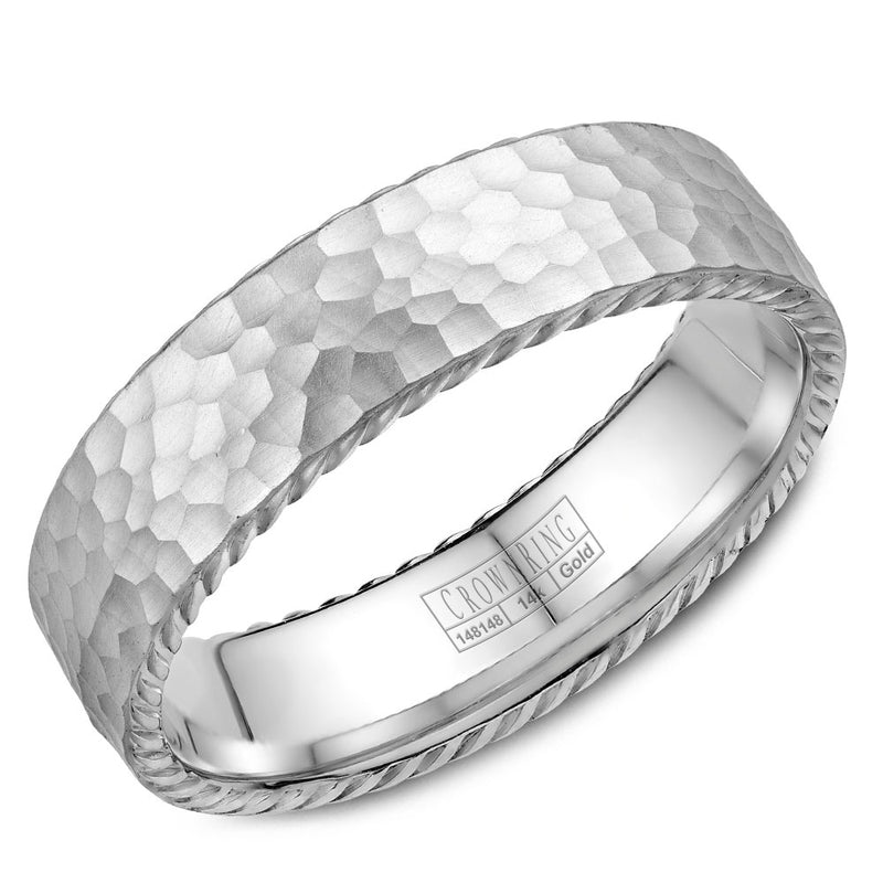 Frosted Hammered Top & High Polish Ropes Men's Wedding Band