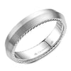 Sandpaper Top & High Polish Ropes Men's Wedding Band
