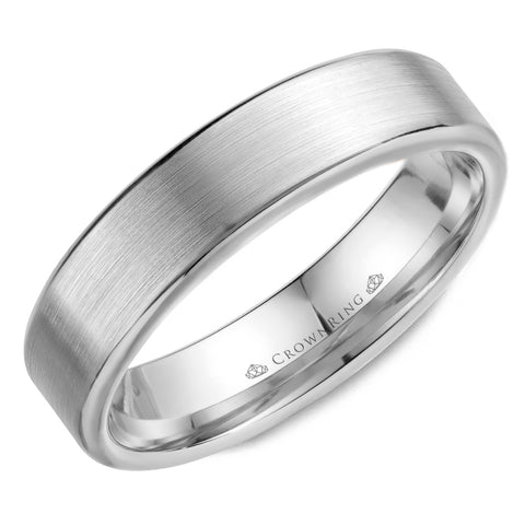 Sandpaper Top & High Polished Round Edged Men's Wedding Band