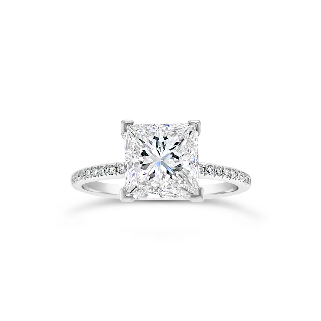 Princess-Cut Diamond Engagement Ring with Pave Diamond Shank